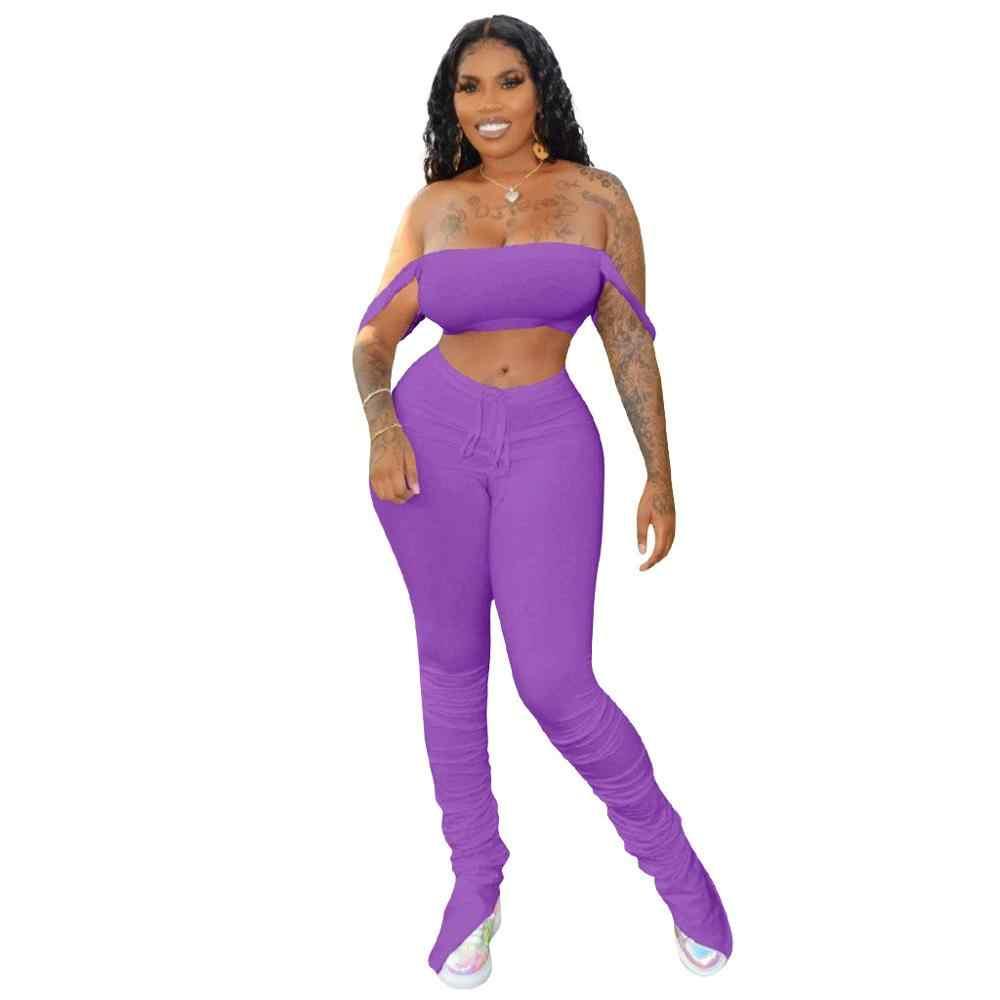 מזדמן מוערם רצים סט יבול למעלה + ארוך מכנסיים גבוה מותן מכפלת פיצול החוצה בגדי אופנה נשים מוצק 5 צבע