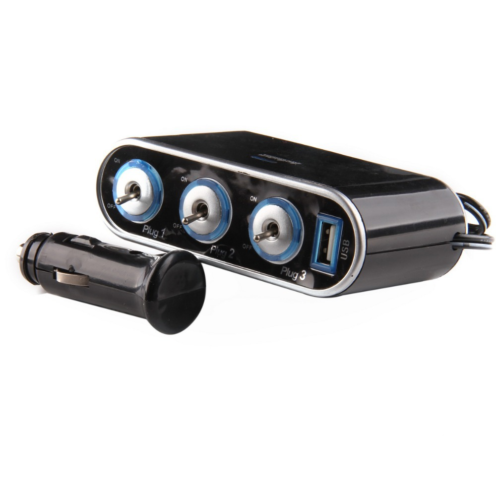 Universal 2/3/4 Sockets <font><b>12V</b></font> <font><b>Car</b></font> Lighter Socket <font><b>Cigarette</b></font> Lighter Splitter USB Ports <font><b>Charger</b></font> Adapter With Switch <font><b>Car</b></font> Accessories image