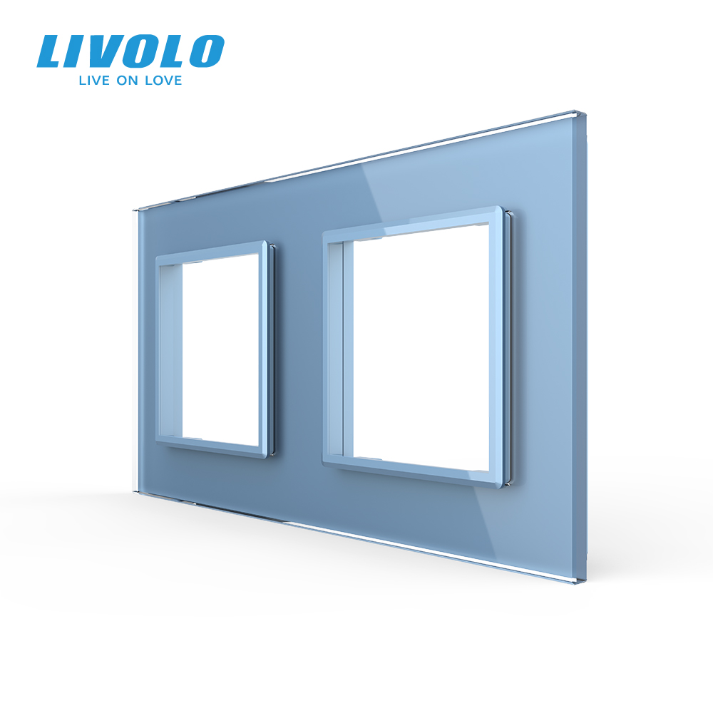 cheapest Livolo Luxury White Pearl Crystal Glass EU standard Double Glass Panel For Wall Switch amp Socket C7-2SR-11   4 Colors