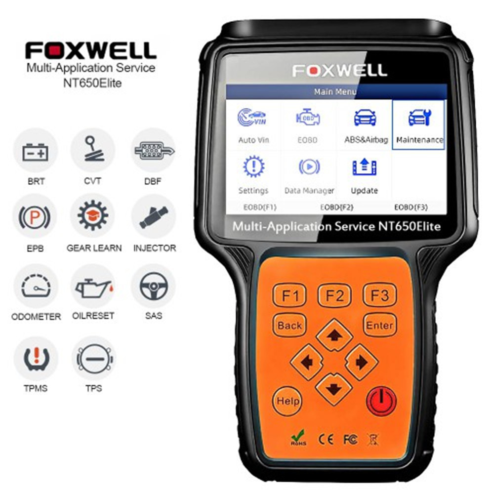 <font><b>FOXWELL</b></font> <font><b>NT650</b></font> Elite OBD2 Automotive Scanner Support ABS Airbag SAS EPB DPF Oil Service Reset image