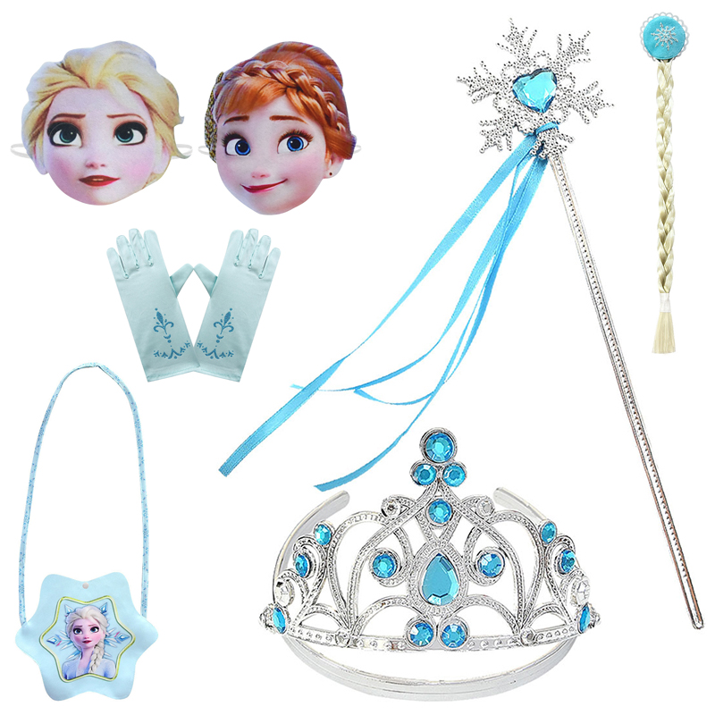Disney Princess <font><b>Frozen</b></font> <font><b>2</b></font> Anime <font><b>Figures</b></font> Elsa Cosplay Costume Role-playing Props Gloves Crown Magic Wand Bags Masks Toys for Girls image