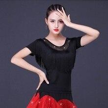 Women Latin Dance Blouse T-shirt Top Ballroom Dancewear Salsa Tango Tassel Practice 904-B154