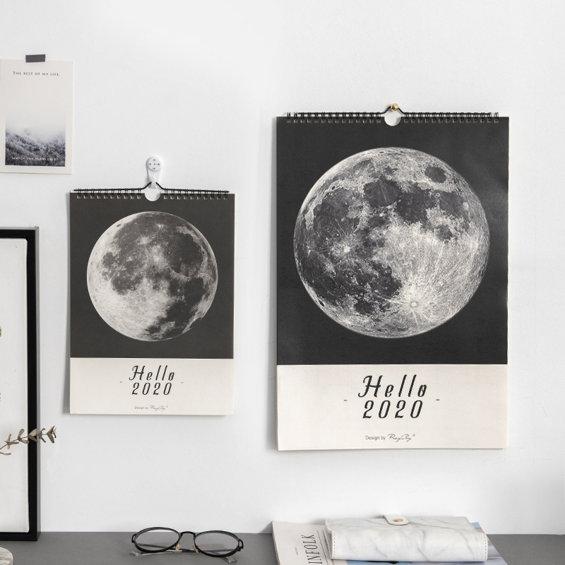 JIANWU Marble Planet Style 2020 Calendar DIY Moon Wall Calendars Daily Schedule 2019 Planner Daily Yearly Agenda Organizer