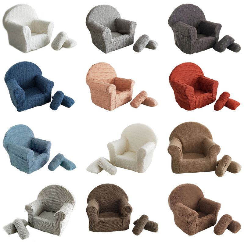 3 Pcs/set Newborn Baby Posing Mini Faux Wool Sofa Arm Chair Pillow Infant Photography Prop  Mini Sofa Looks Exquisite