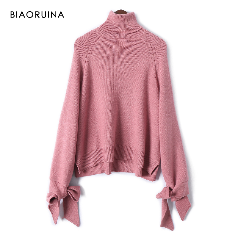 BIAORUINA Women's Korean Style Solid Loose Turtleneck Sweater Bow Long Sleeve Female Sweet All-match Pullovers New Arrival