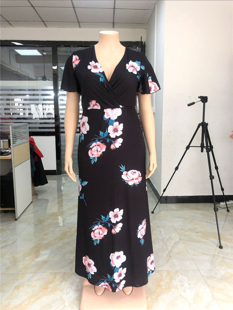 2019 NEW Women 39 s Dress V neck Big Print Europe US large Size Black Casual Cool Comfortable fashion Flower Ladys Clothing in Dresses from Women 39 s Clothing