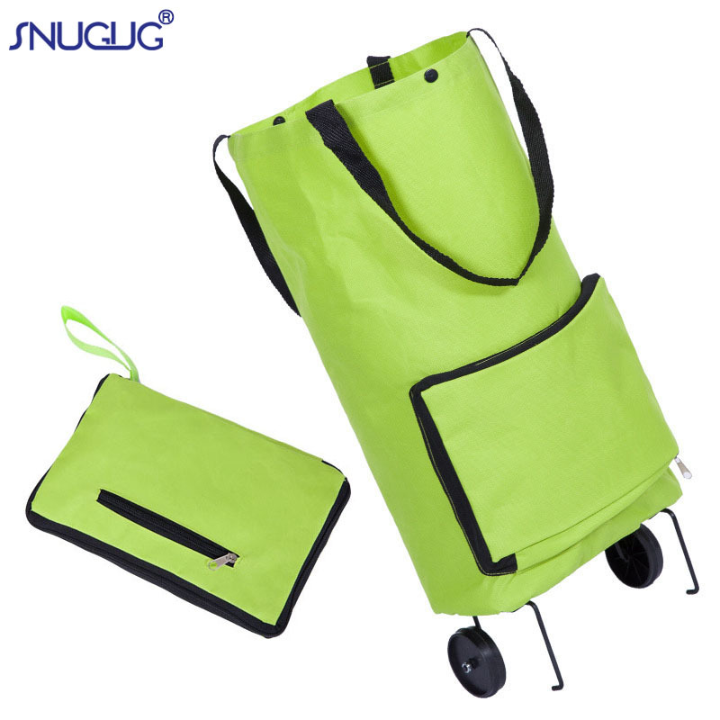 Folding Eco Large Food Supermarket Shopping Pull Cart Trolley Bag With Wheels Vegetables Bags Reusable Grocery Shopping Bags