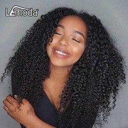 Африканские Курчавые Кудрявые волосы зажим человеческих волос на зажимах для наращивания Lemoda бразильские волосы для наращивания на всю го...