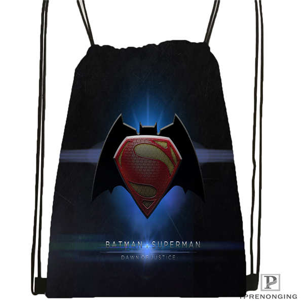Custom Batman-vs-superman Drawstring Backpack Bag Cute Daypack Kids Satchel (Black Back) 31x40cm#180611-01-20