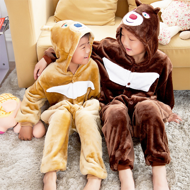 Kid Brown Bear Cosplay Kigurumi Onesies Child Cartoon Anime Jumpsuit Costume For Girl Boy Animal Sleepwear Pajamas Onesies
