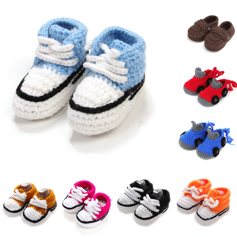2019 Fashion First Walkers Newborn Mixed Color Infant Slipper Socks Handmade Knitting Baby Shoes For Boys Girls 10cm