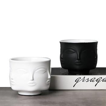 11.1cm Ceramic Face Vase Flower Pot Nordic Style Creative Vase Head Key Phone Household Small Items Storage Basin Home Decor