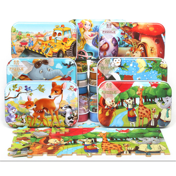 60PCS Wooden Puzzle Kids Toy Cartoon Animal Wood Jigsaw Puzzles Early Educational Learning Color Puzzle Toys for Christmas Gift simingyou wooden toys puzzle color toy for color exerciseand shape identification exercise drop shipping