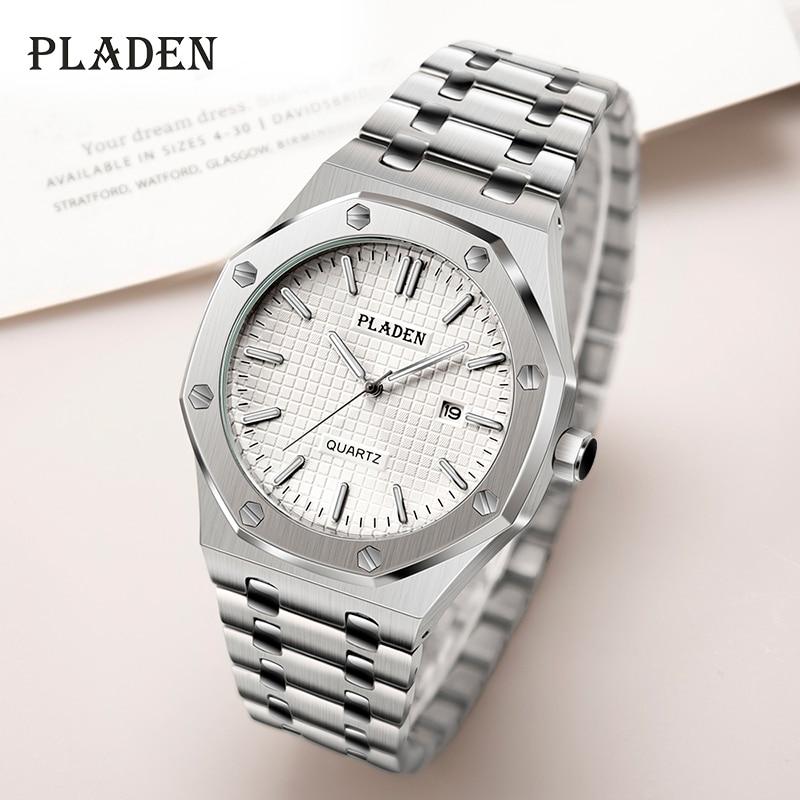 PLADEN Weiß Zifferblatt Männer Uhren Edelstahl Quarz Zeiger leucht Marke Uhr Casual Mode Und Freizeit Männliche Armbanduhr