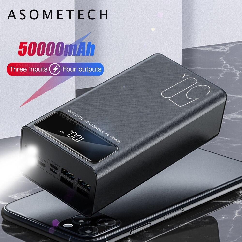 Banco de energía de gran capacidad de 50000mAh, Banco de energía de pantalla LED 2.1A, carga rápida, cargador de batería externo para iPhone Xiaomi Samsung