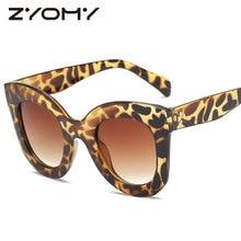 Oversized Trend Big Frame Sunglasses Women Personality Retro Leopard Gradient Color Lens Glasses Vintage Female