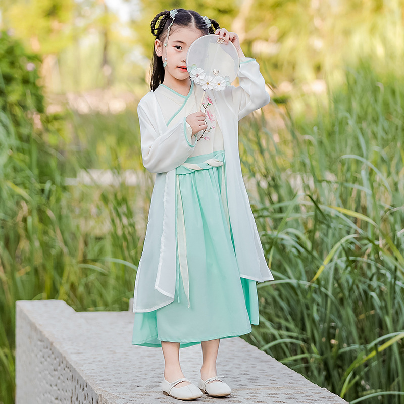 2019 Girls Chinese Clothing Two-Piece Set Little Fairy Jacket Skirt Chinese-style Handmade Embroidered Origional Hipster Dress