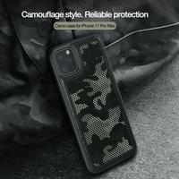 Camouflage case for Iphone 11 pro max Nillkin PU Leather PC Hard And TPU Soft Back Cover Grid Military Design Phone Protective|Fitted Cases| |  -