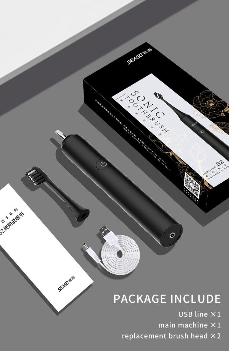 SEAGO, cepillo de dientes eléctrico sónico, recargable por USB, actualizado, ultrasónico, cepillo de dientes automático, blanqueador impermeable para adultos, el mejor regalo - 6