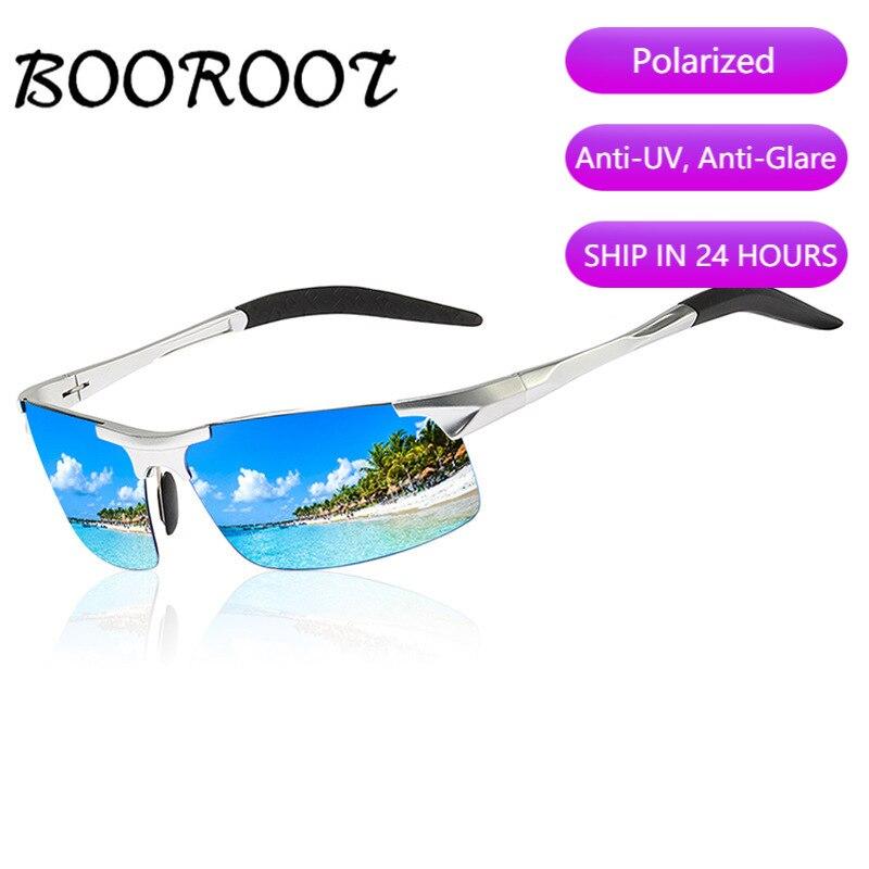 High Quality Aluminum Magnesium Sport Polarized Sunglasses Men UV400 Rectangle Outdoor Driving Sun Glasses BOOROOT