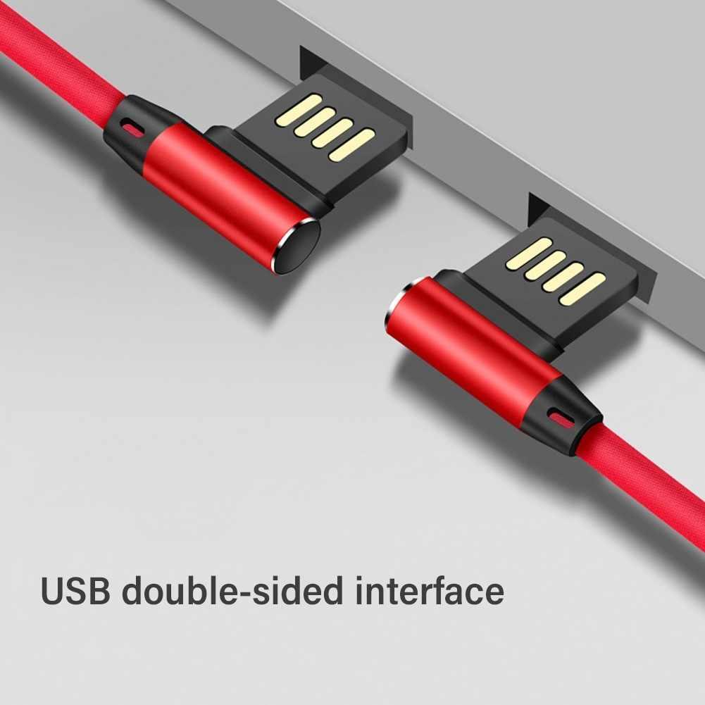 Câble de chargement rapide de transfert de données Micro USB type-c de coude de 90 degrés pour la conception tressée de câble d'android 2A 1m TPE + alliage d'aluminium