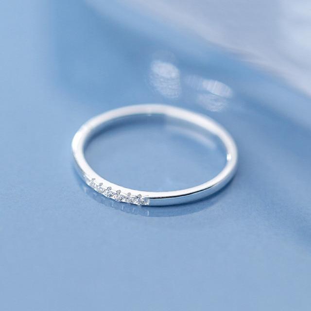 INZATT Real 925 Sterling Silver Zircon Round Geometric Ring For Fashion Women Cute Fine Jewelry 2019 Minimalist Accessories Gift 3
