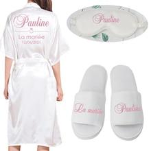 Custom Long Robe Wedding Personality robe for Bridedal Party Emulation Silk Soft Home Bathrobe For Women Kimono Robes