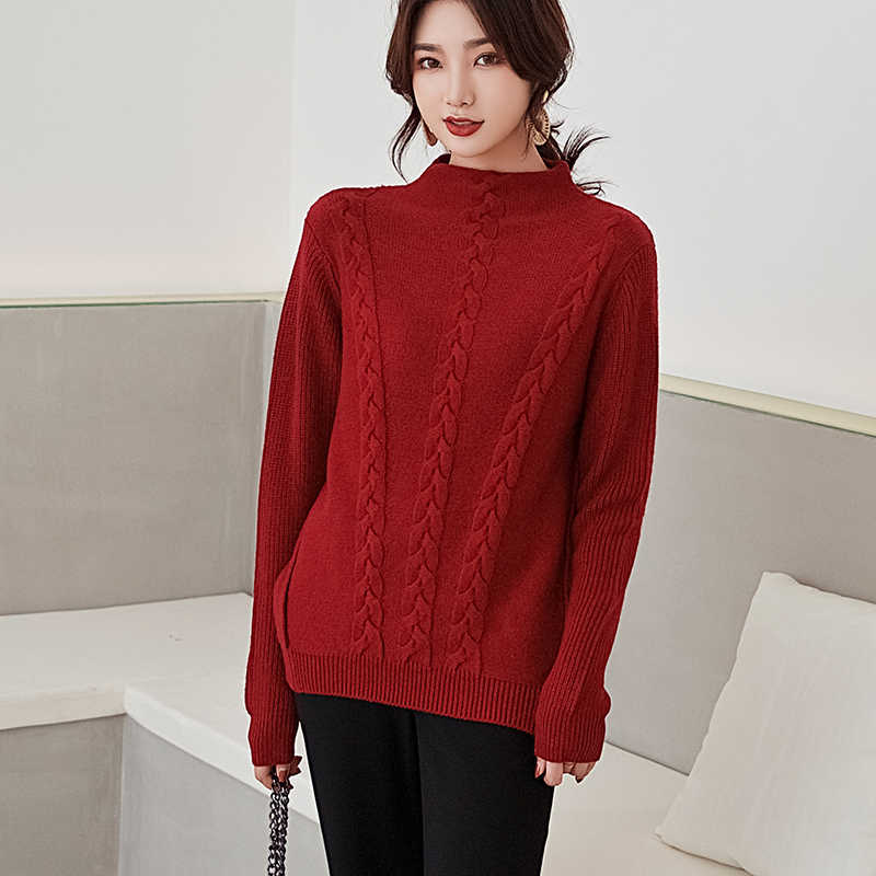 새로운 가을 겨울 100% 캐시미어 스웨터 여성 반 높이 칼라 두꺼운 풀오버 루즈 한 스웨터 대형 니트 울 셔츠