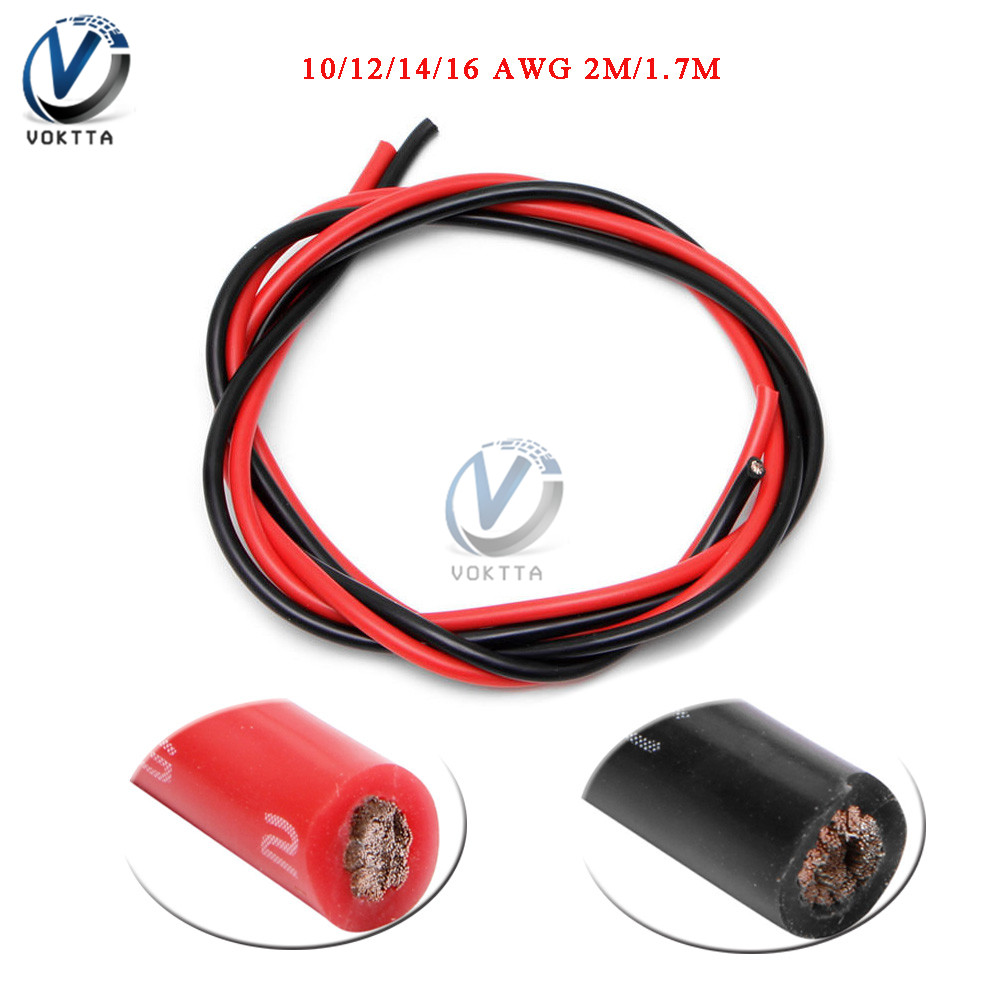1 Set 10/<font><b>12</b></font>/14/16 Gauge <font><b>AWG</b></font> Electrical <font><b>Wire</b></font> Soft <font><b>Silicone</b></font> Cable Temperature Resistance Flexible Copper Cable Black + Red (1M/85) image