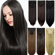 Extensiones de Cabello para mujer, pelo largo y sedoso rizado, con 11 Clips, 4 Uds., de cabeza completa, de 18 ''y 24'', peluca Natural gruesa