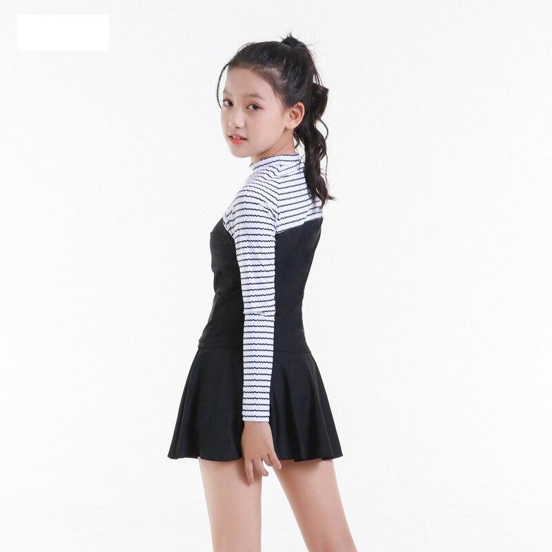 2019 New Style Hot Sales KID'S Swimwear Split Skirt Long Sleeve Sun-resistant Hipster Sporty Shao Nv Kuan GIRL'S Swimsuit