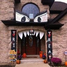 할로윈 장식 트릭이나 트리 트먼트 배너 4 + 클로 스티커 문 로그인 공포 베란다 로그인 벽 매달려 파티 장식 야외 창