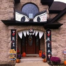 Halloween Decor Trick Oder Behandeln Banner 4 + Klaue Aufkleber Tür Zeichen Horror Veranda zeichen Wand Hängen Party Dekoration Im Freien fenster