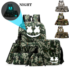BPZMD 5pc/set DJ backpack School Bag Set For Teenagers Boys Girl Student Backpack Luminous Anti-theft Back To