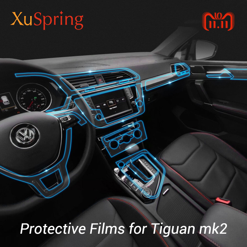 For VW Tiguan mk2 2016 2017 2018 2019 2020 Car Protective TPU Film Interior Coverage Sticker Trim Bright Repair Membrane Styling image