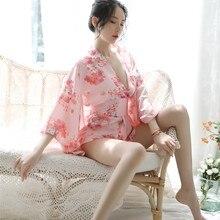 Geisha Costume Yukata Kimonos Japanese Cosplay Sexy Nightwear Women Traditional Female