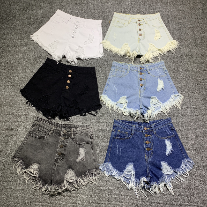female fashion casual summer cool women denim booty Shorts high waists fur-lined leg-openings Plus size sexy short Jeans 1