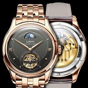 Image 5 - LOBINNI reloj para hombre con movimiento mecánico automático, cronógrafos de marca de lujo, fase lunar, zafiro, L12025M 4