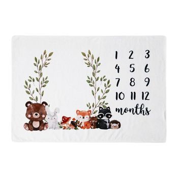 Baby Monthly Record Growth Milestone Blanket Cute Animal Pattern Photography Props Photo Creative Background Cloth Infant Gifts