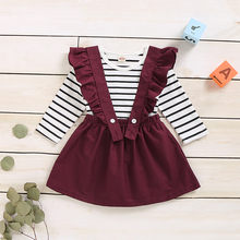 Toddler Girl Summer Clothes Long Sleeve Striped T-shirt Tops+suspender Skirts Kids Clothes Girls Boutique Outfits Vestido Niña(China)