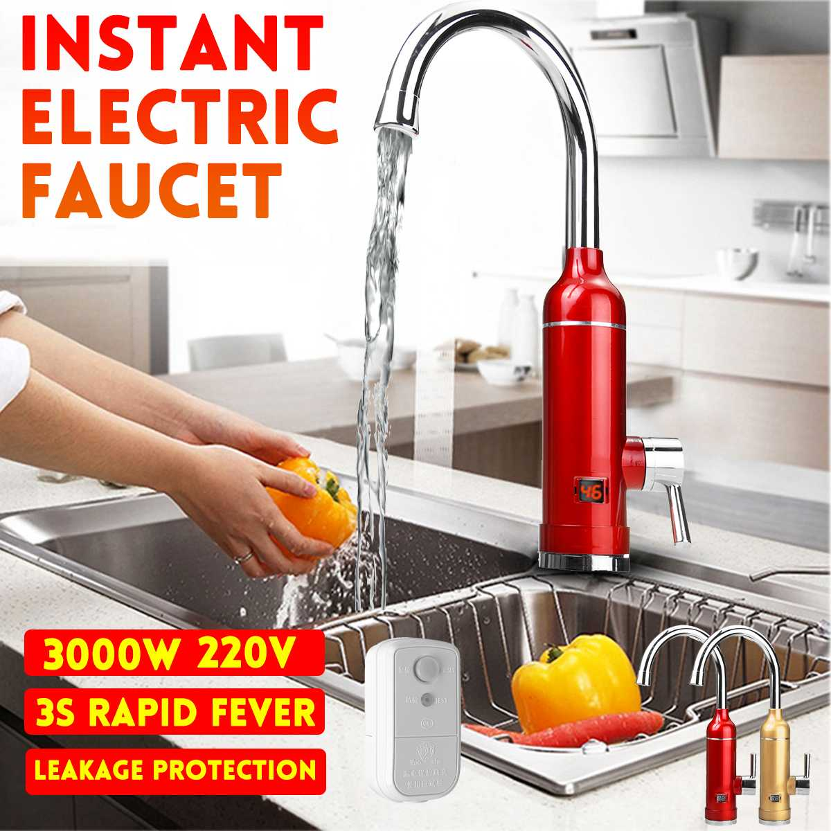 220V 3000W Electric Kitchen Water Heaters Tap Instant Hot Water Faucet Heaters Cold Heating Faucet Tankless Water Heaters