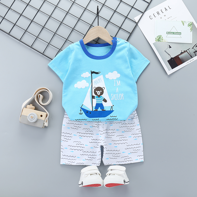New Boys Outfits 9M-6T Girls Clothes Children's Clothing Suits Top Cotton Pants Suit 2pcs Clothing Sets Kids Clothes 9M24M3T5T6T