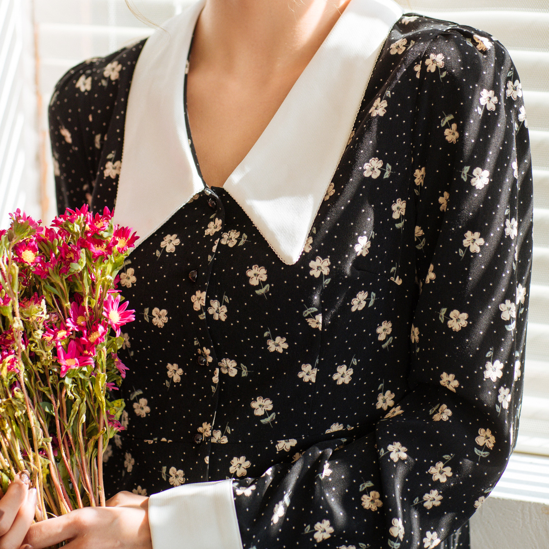 Vestido de camisa de impressão floral 2020 primavera nova manga longa midi vestidos de chiffon das mulheres do vintage branco elegante das senhoras roupas za - 6