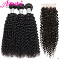 Brazilian Kinky Curly Bundles With Closure Beauty Human Hair Weave 3 4 Bundles With Closure Remy Bundles With 4x4 Lace Closure