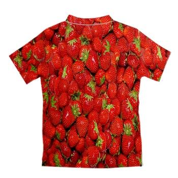 UJWI Fashion Funny Short Shirts Men Women 3d Print Strawberry Hawaiian Casual Streetwear Hip Hop Shirt Harajuku Short Sleeve 2