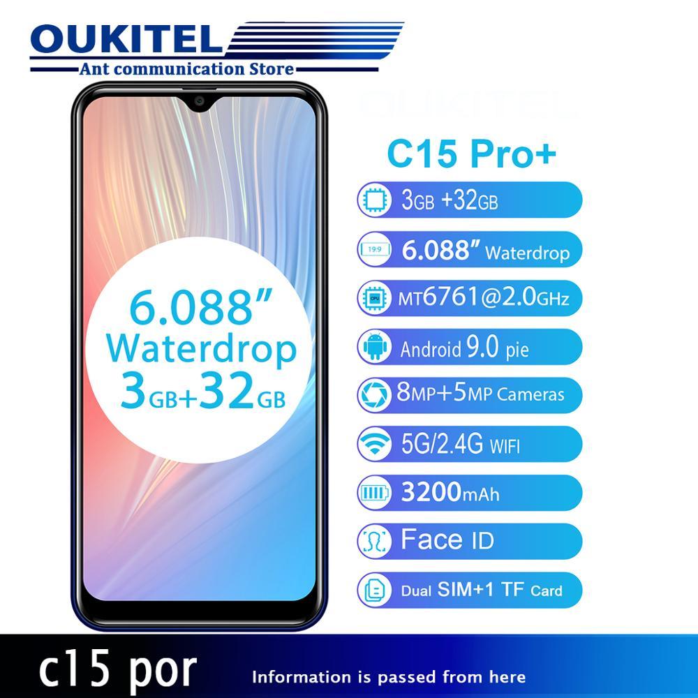 OUKITEL C15 Pro + 6,088 ''3 ГБ 32 ГБ MT6761 Капля воды экран 4G смартфон C15 Pro + отпечаток пальца лица ID 2,4G/5G WiFi мобильный телефон