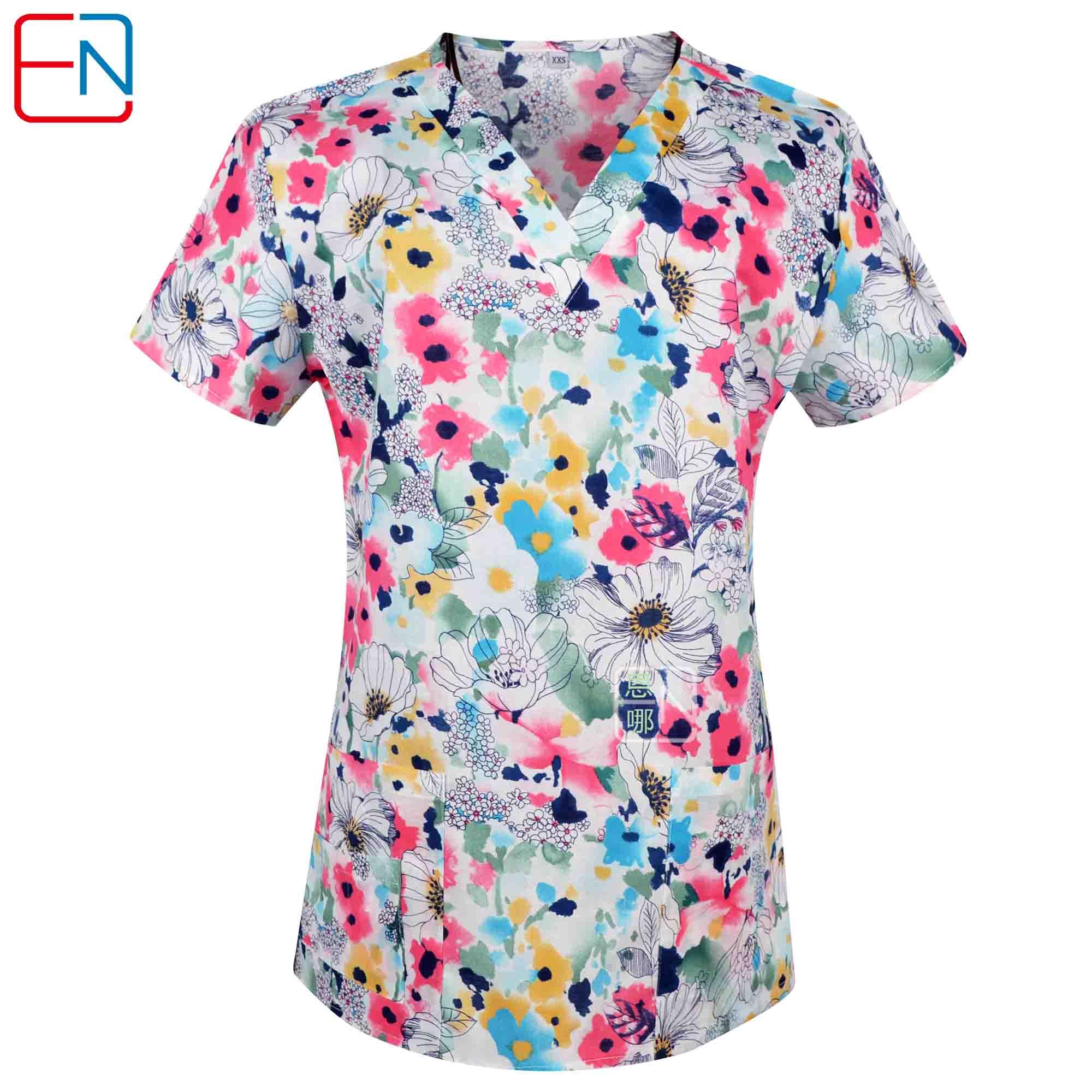 Brand medical scrub tops for women surgical scrubs,scrub uniform in 100% print cotton maotou seriesScrub Tops & Bottoms   -