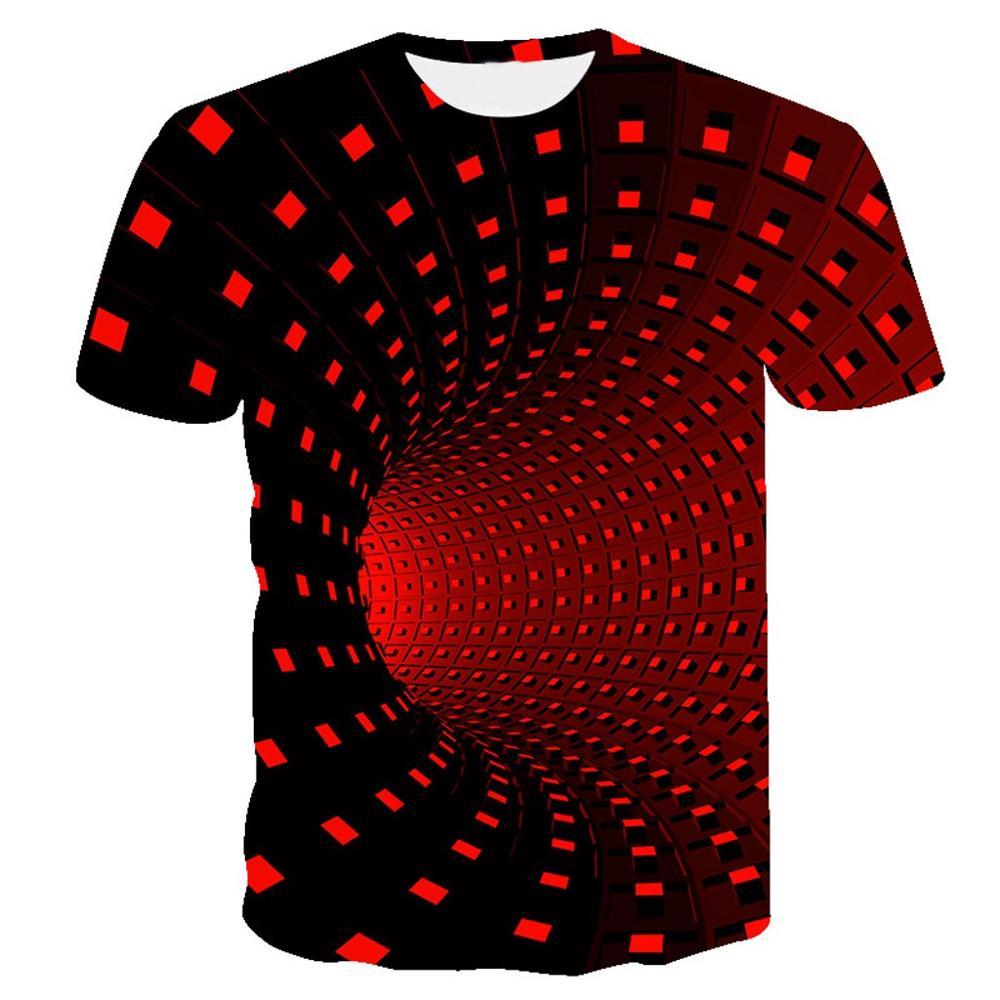 Летняя футболка с короткими рукавами с 3D принтом, Мужская футболка, модная цветная футболка с трехмерным принтом Vertigo Hypnotic, camiseta masculina - Цвет: Red