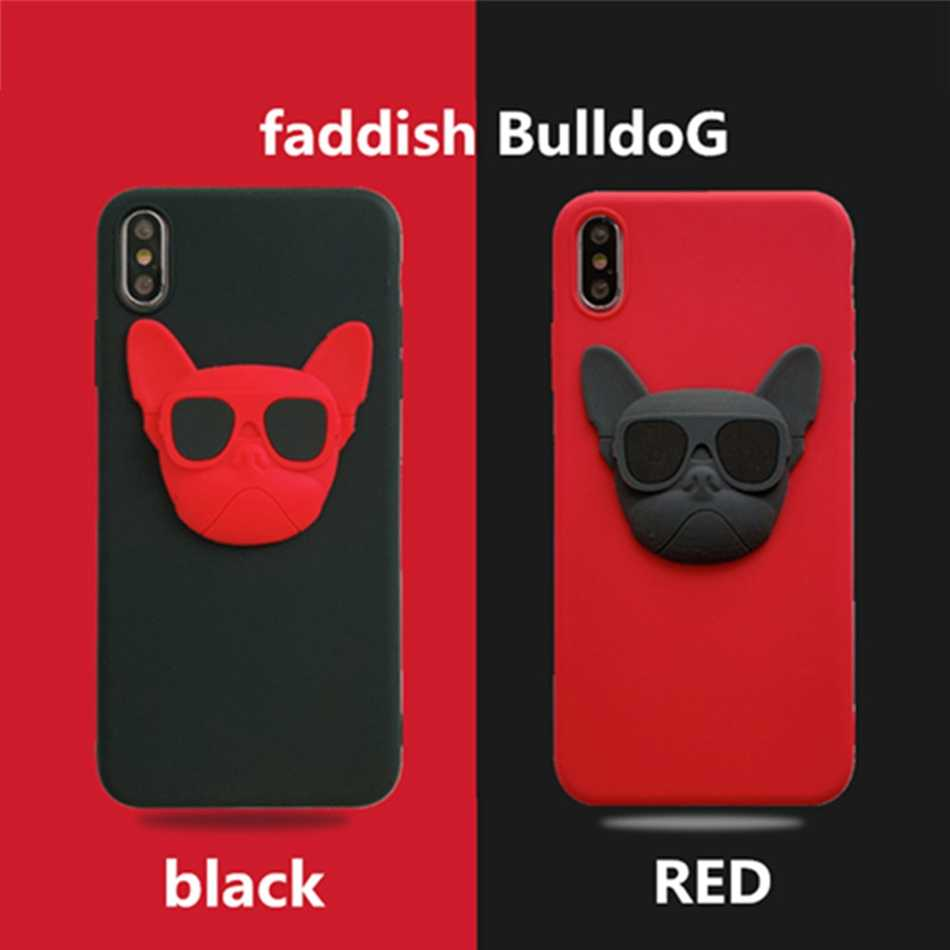 Voor Iphone 11 Pro Xr X Xs Max Fashion Cool Bulldog Diy Contrast Kleur Case Voor Iphone 7 6S 5 8 Plus Ins Soft Silicone Cover