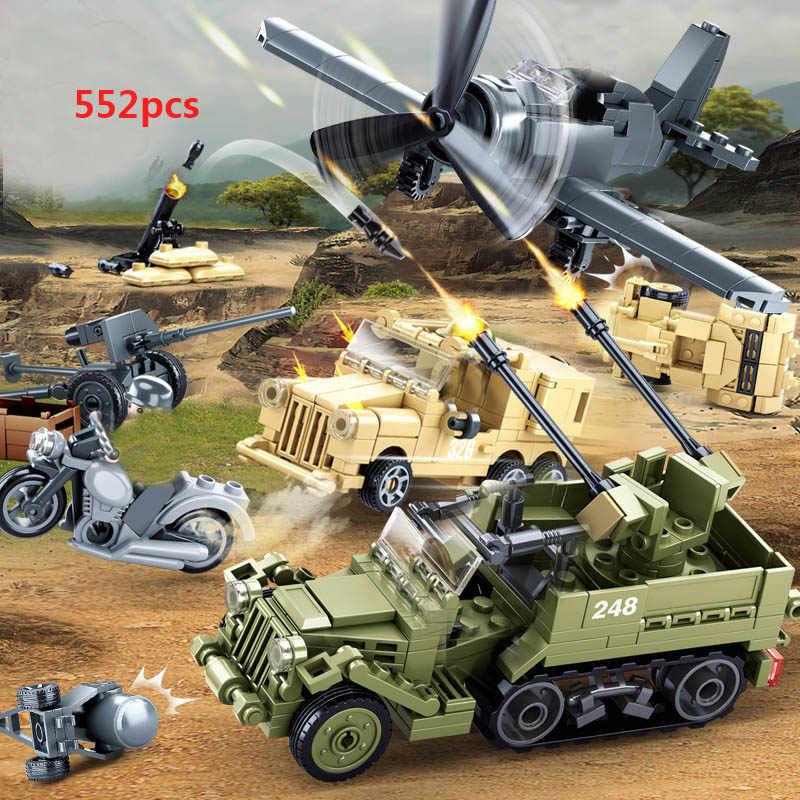 รถบรรทุกทหารรถถังยานเกราะชุดบล็อกอาคารWW2 กองทัพเครื่องบินทิ้งระเบิดเครื่องบินทหารเฮลิคอปเตอร์ของเล่นสำหรับก่อสร้างเด็ก